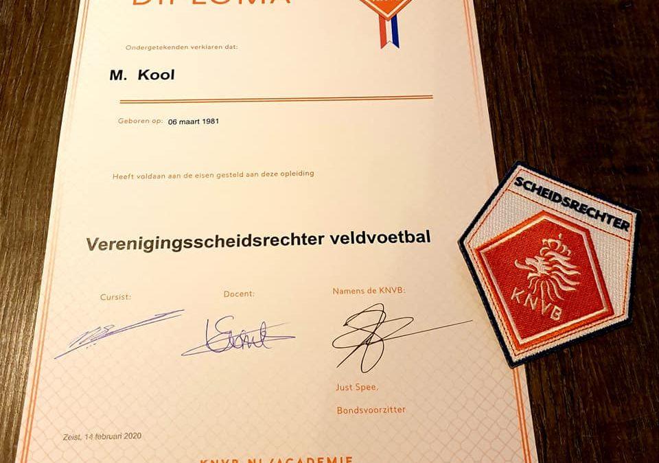 Marjolein geslaagd voor Diploma Verenigingsscheidsrechter Veldvoetbal !!